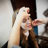 Miri Beillin, an ultra orthodox Jewish stylist and fashion designer, behind the scenes of shooting for a tv show for the new israeli fashion show.
