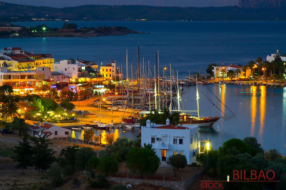 Harbour and sailboats. Datca city.<br /> Datca peninsula, Mugla province, Anatolia, Turkey.