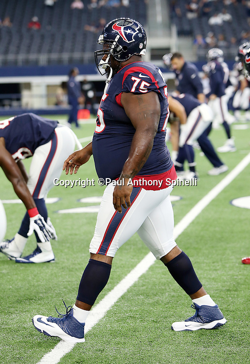 Houston Texans nose tackle Vince Wilfork (75) warms up before the 2015 NFL preseason football game against the Dallas Cowboys on Thursday, Sept. 3, 2015 in Arlington, Texas. The Cowboys won the game 21-14. (©Paul Anthony Spinelli)