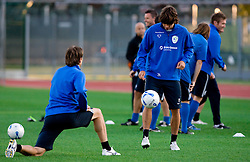 Zlatko Dedic and Rene Krhin of Slovenian National football team at practice a day before the last 2010 FIFA Qualifications match between San Marino and Slovenia, on October 13, 2009, in Olimpico Stadium, Serravalle, San Marino.  (Photo by Vid Ponikvar / Sportida)