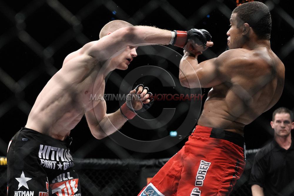 "DUBLIN, IRELAND, JANUARY 17, 2009: Martin Kampmann (left) and Alexandre Barros during ""UFC 93: Franklin vs. Henderson"" inside the O2 Arena in Dublin, Ireland"