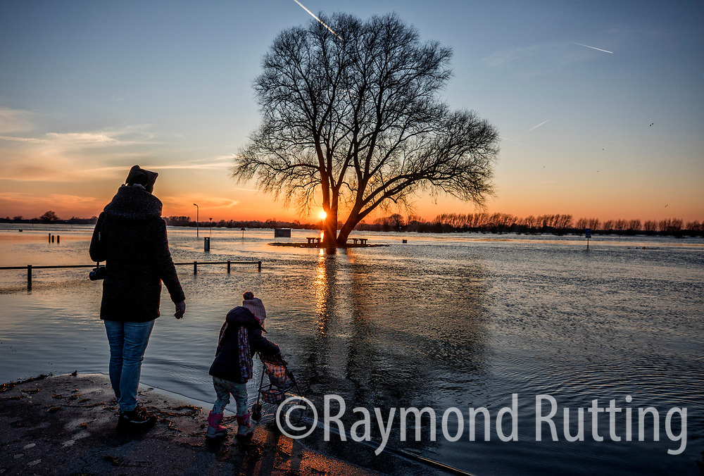 Netherlands- Wijhe- The water level in the Rhine and Ijssel near the border with Germany was higher than expected  on Tuesday as rain and melting snow from the Alps continued to swell the volume of water in Dutch rivers. photo©raymond rutting