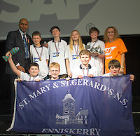 16/02/2014  St Mary's and St Gerard's National school Enniskerry (pictured with Paul Sleem MC and Yvonne McArdle SAP) at the 8th annual SAP FIRST LEGO League challenge in Galway!&nbsp; The global theme for this year&rsquo;s competition; &ldquo;Nature&rsquo;s Fury&rdquo; was very apt for Irish Students and many of the projects were inspired by recent disastrous impact of the weather in local communities.<br /> &nbsp;<br /> The winners, SGC Robotics from St. Gerald&rsquo;s Secondary School in Castlebar, will now go on to represent Ireland at the European finals of the competition in Spain in May. They will follow in the footsteps of other very successful Irish teams who have in the past been recognised and awarded prizes on the international stage.<br /> Bernard Kirk, Director, The Galway Education Centre who brought the FIRST LEGO League to Ireland 8 years ago and have hosted it every year since, &ldquo; We see these students not just as LEGO and robotics experts, they are architects, engineers and genuine enthusiasts. Irish students have become recognised all over the world through their successes in this competition at global level and we are extremely proud of them and their teachers&rdquo;. Photo:Andrew Downes