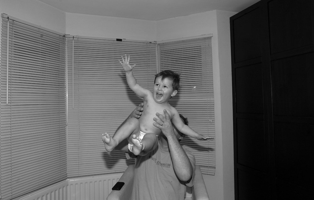 Joe gets thrown up in the air by his dad after his bath in Berkhamsted, England  Sunday, Nov. 8, 2015 (Elizabeth Dalziel) #thesecretlifeofmothers #bringinguptheboys #dailylife