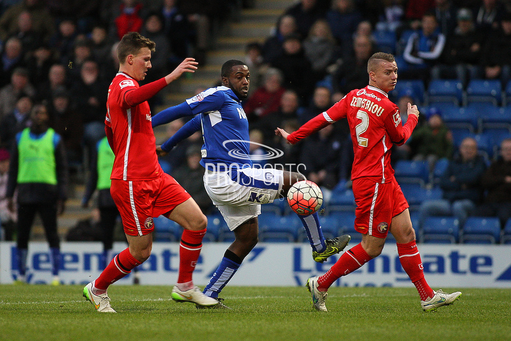 Chesterfield FC forward Sylvan Ebanks-Blake beats the defence during the The FA Cup match between Chesterfield and Walsall at the Proact stadium, Chesterfield, England on 5 December 2015. Photo by Aaron Lupton.