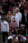 Princess Mary and Crown Princess Frederik of the Danish Royal Family, National Day, celebrating Self Governance, outside Cathedral Annaassisitta Oqaluffia, Nuuk, Greenland. National Day, celebrating Self Governance, Nuuk, Greenland. From June 21 2009, Greenland moves from being under 'home rule' to 'self-governance' in a ceremony attended by the Danish Royal family and other heads of state.