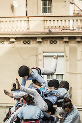 November 20, 2016 - Barcelona, Catalonia, Spain - A human tower collapses after being built during a 'diada castellera' at Barcelona's Gracia quarter by the 'Castellers de Poble Sec' (Credit Image: © Matthias Oesterle via ZUMA Wire)