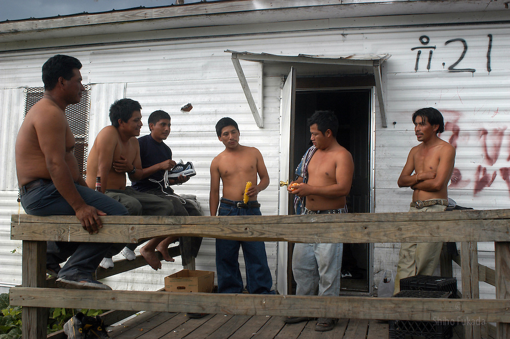 Migrant farm workers talk outside  the trailer park they share in  Immokalee, FL, Apr. 18, 2003.