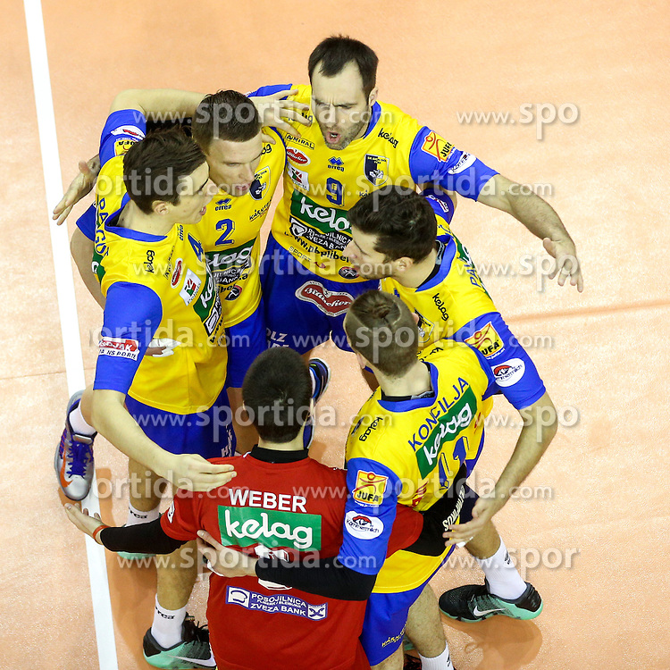 Players of Aich Dob celebrate during volleyball match between ACH Volley Ljubljana and Posojilnica Aich - Dob in Semifinal of MEVZA Cup Men - Final Four, on March 11, 2016 in Hala Tivoli, Ljubljana, Slovenia. Photo by Morgan Kristan / Sportida
