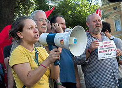 July 27, 2017 - Rome, Italy - Sit-in and press conference near the German Embassy in Rome asking for the release of the six Italian boys arrested in Hamburg for having filed against # G20 on July 7th. A delegation of protesters, together with the European Parliamentary Member, Eleonora Forenza, asked to be received by the ambassador but was not granted. In the picture the  European Parliamentary Member, Eleonora Forenza (Credit Image: © Patrizia Cortellessa/Pacific Press via ZUMA Wire)