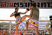 Lital (L) fights Muay Thai with a Thai opponent in Phigit..(please refer to emailed captions for individual stories)..Shuki Rosenweig brings five fighters to fight in Phigit, a town 3 hours north of Bangkok, on 1st February 2010. Lital, Ilya, Gil and two other fighters, one from France and another from Brazil..Photo by Suzanne Lee for Chabad Lubavitch