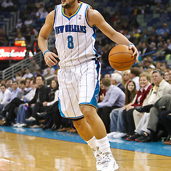 February 1, 2011; New Orleans, LA, USA; New Orleans Hornets shooting guard Marco Belinelli (8) against the Washington Wizards during the first quarter at the New Orleans Arena.   Mandatory Credit: Derick E. Hingle
