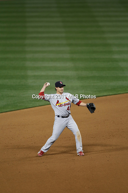 LOS ANGELES, CA - APRIL 15:  Shortstop Ryan Theriot #3 of the St. Louis Cardinals throws to first base during the game between the St. Louis Cardinals and the Los Angeles Dodgers on Friday April 15, 2011 at Dodger Stadium in Los Angeles, California. (Photo by Paul Spinelli/MLB Photos via Getty Images) *** Local Caption *** Ryan Theriot