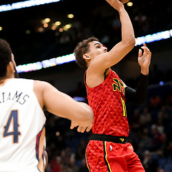Mar 26, 2019; New Orleans, LA, USA; Atlanta Hawks guard Trae Young (11) shoots against the New Orleans Pelicans during the second quarter at the Smoothie King Center. Mandatory Credit: Derick E. Hingle-USA TODAY Sports
