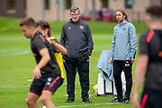 Heart of Midlothian manager Craig Levein (dark jacket) and coach Austin Macphee during training at the Oriam Sports Performance Centre, Edinburgh on 13 September 2018, ahead of the away match against Motherwell.