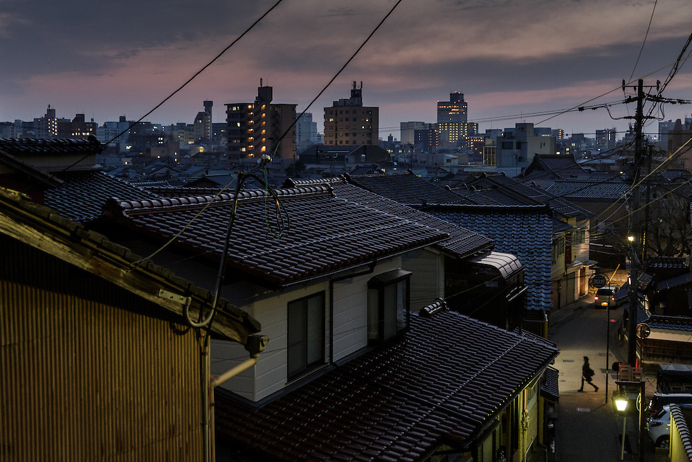 Kanazawa, March 16 2015 - View over the city from the Higashiyama 2-chome area.