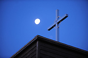 The moon shines over Holy Name Retreat Center on Chambers Island in Door County, Wisconsin. (Photo by Sam Lucero)