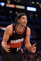 12 February 2013: Forward (14) Luis Scola of the Phoenix Suns argus a call while playing against the Los Angeles Lakers during the first half of the Lakers 91-85 victory over the Suns at the STAPLES Center in Los Angeles, CA.