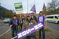 St James University Hospital Unison members on the TUC Day of Action 30th November, Leeds..© Martin Jenkinson, tel 0114 258 6808 mobile 07831 189363 email martin@pressphotos.co.uk. Copyright Designs & Patents Act 1988, moral rights asserted credit required. No part of this photo to be stored, reproduced, manipulated or transmitted to third parties by any means without prior written permission