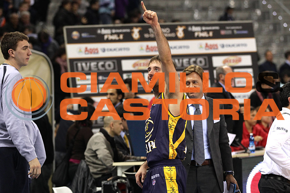 DESCRIZIONE : Torino Coppa Italia Final Eight 2011 Quarti di Finale Fabi Shoes Montegranaro Canadian Solar Virtus Bologna<br /> GIOCATORE : Daniele Cavaliero<br /> SQUADRA : Fabi Shoes Montegranaro<br /> EVENTO : Agos Ducato Basket Coppa Italia Final Eight 2011<br /> GARA : Fabi Shoes Montegranaro Canadian Solar Virtus Bologna<br /> DATA : 10/02/2011<br /> CATEGORIA : esultanza<br /> SPORT : Pallacanestro<br /> AUTORE : Agenzia Ciamillo-Castoria/C.De Massis<br /> Galleria : Final Eight Coppa Italia 2011<br /> Fotonotizia : Torino Coppa Italia Final Eight 2011 Quarti di Finale Fabi Shoes Montegranaro Canadian Solar Virtus Bologna<br /> Predefinita :