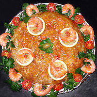 Bastilla / Pastilla - Shrimp Bastilla, pie stuffed with shrimp and sweet and salty spices. Traditional Moroccan dish served in many Arab countries.