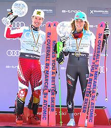 17.03.2019, Soldeu, AND, FIS Weltcup Ski Alpin, Siegerehrung, Gesamtweltcup, im Bild v.l. 1. Platz Herren Marcel Hirscher (AUT) mit der grossen Kristallkugel für den Sieg im Gesamtweltcup Saison 2018/19, 1. Platz Damen Mikaela Shiffrin (USA) mit der grossen Kristallkugel für den Sieg im Gesamtweltcup Saison 2018/19 // f.l. 1st place Men Marcel Hirscher of Austria with the big crystal globe for the victory in the overall World Cup season 2018/19, 1st place Women Mikaela Shiffrin of the USA with the big crystal globe for the victory in the overall World Cup season 2018/19 during the allover winner Ceremony for the Worlcup of FIS Ski Alpine World Cup finals. Soldeu, Andorra on 2019/03/17. EXPA Pictures © 2019, PhotoCredit: EXPA/ Erich Spiess