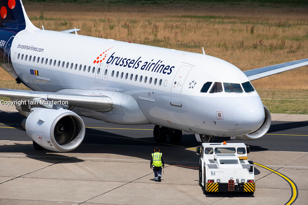 Brussels Airlines passenger aircraft at Tegel Airport in Berlin, Germany