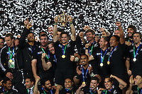 ALL BLACKS CELEBRATE AFTER WINNING 2011 RUGBY WORLD CUP FINAL, AUCKLAND