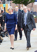 Conservative Annual Conference, Manchester Central, Manchester, Great Britain <br /> Day 4<br /> 4th October 2017 <br /> <br /> Theresa May MP &amp; Husband Philip arrive at the conference centre ahead of making her leaders' speech at the end of the 4 day conference in Manchester. <br /> <br /> <br /> <br /> <br /> Photograph by Elliott Franks <br /> Image licensed to Elliott Franks Photography Services