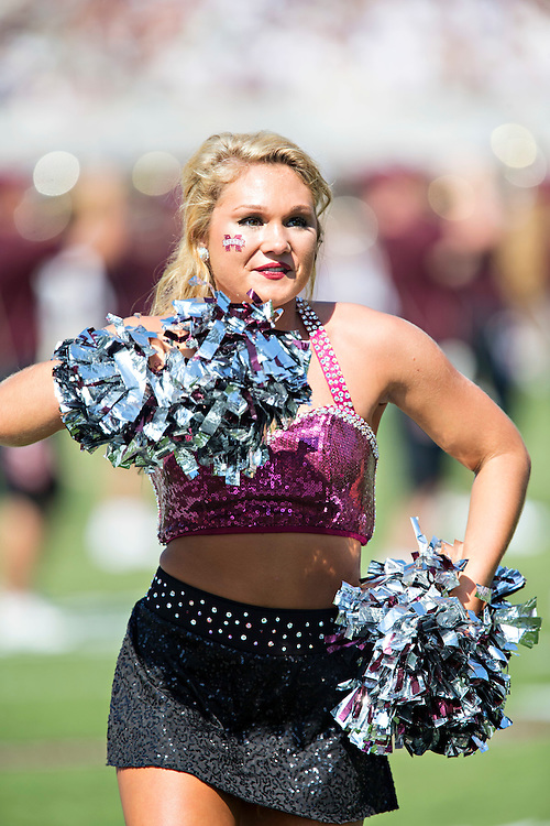 STARKVILLE, MS - SEPTEMBER 19:  Pom Squad member of the Mississippi State Bulldogs performs before a game against the Northwestern State Demons at Davis Wade Stadium on September 19, 2015 in Starkville, Mississippi.  The Bulldogs defeated the Demons 62-13.  (Photo by Wesley Hitt/Getty Images) *** Local Caption ***
