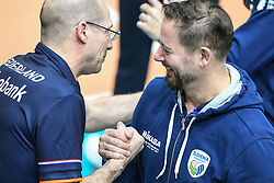 Roberto Piazza, head coach of Netherlands and Alberto Giuliani head coach of Slovenia before the friendly volleyball match between National Men teams of Slovenia and Netherlands, on Januar 2nd, 2020, in Dvorana Tabor, Maribor, Slovenia. Photo by Milos Vujinovic / Sportida