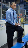 KELOWNA, CANADA - AUGUST 30:  Don Hay, head coach of the Kamloops Blazers stands on the bench during warm up against the Kelowna Rockets on August 30, 2014 during pre-season at Prospera Place in Kelowna, British Columbia, Canada.   (Photo by Marissa Baecker/Shoot the Breeze)  *** Local Caption *** Don Hay;