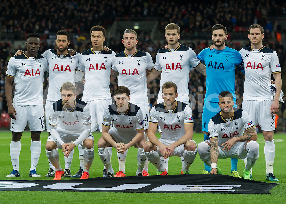 The Tottenham Hotspur team during the UEFA Europa League  Round of 32 Game 2 match between Tottenham Hotspur and Gent at Wembley Stadium, London, England on 23 February 2017. Photo by Vince  Mignott.