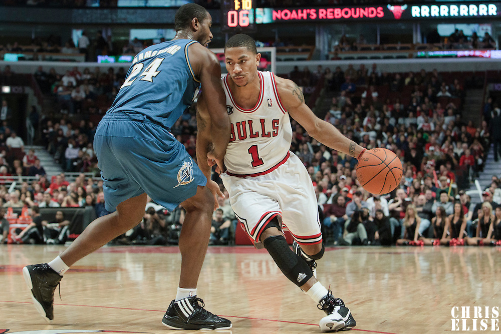 13 November 2010: Chicago Bulls' point guard #1 Derrick Rose drives past Washington Wizards' center #24 Hilton Armstrong during the Chicago Bulls 103-96 victory over the Washington Wizards at the United Center, in Chicago, Illinois, USA.