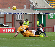 Motherwell's Carl McHugh makes a great block to deny Dundee's Faissal El Bakhtaoui - Motherwell v Dundee, Fir Park, Motherwell, Photo: David Young<br /> <br />  - © David Young - www.davidyoungphoto.co.uk - email: davidyoungphoto@gmail.com