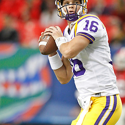 Dec 3, 2011; Atlanta, GA, USA; LSU Tigers quarterback Stephen Rivers (16)prior to kickoff of the 2011 SEC championship game against the Georgia Bulldogs at the Georgia Dome.  Mandatory Credit: Derick E. Hingle-US PRESSWIRE