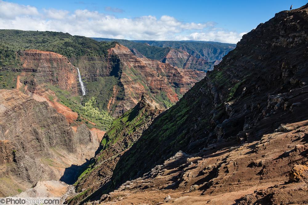 "Seen from Waimea Canyon Drive, Waipoo Falls plunges in a cascade for 800 feet in Waimea Canyon State Park on the island of Kauai, Hawaii, USA. Waimea Canyon (""the Grand Canyon of the Pacific"") slices as much as 3000 feet deep across ten miles of western Kauai. About 4 million years ago, a catastrophic collapse of the volcano that created Kauai created a fault which was gradually cut deeper by the Waimea River, fed by extreme rainfall on the island's central peak, Mount Wai'ale'ale, among the wettest places on Earth. Waimea is Hawaiian for ""reddish water,"" referring to the local orange clay."