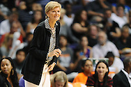 Sep 21, 2013; Phoenix, AZ, USA; Los Angeles Sparks head coach Carol Ross watches the game against the Phoenix Mercury from the sideline during Game 2 of a WNBA basketball Western Conference semifinal series at US Airways Center. The Sparks defeated the Mercury 82-73. Mandatory Credit: Jennifer Stewart-USA TODAY Sports