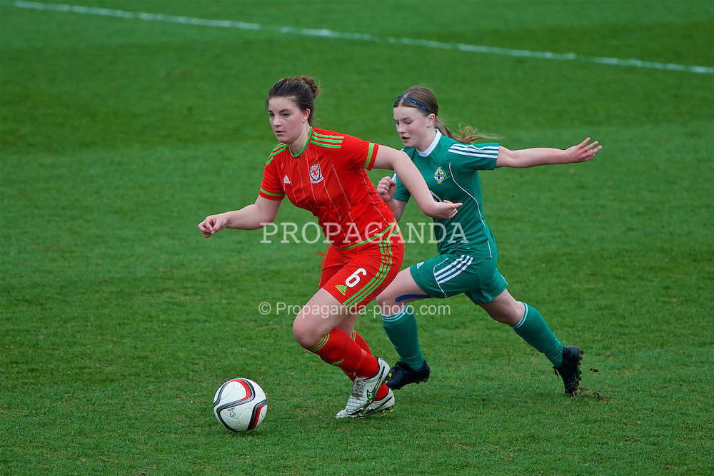 NEWPORT, WALES - Sunday, April 3, 2016: Wales' Alice Griffiths in action against Northern Ireland during Day 3 of the Bob Docherty International Tournament 2016 at Dragon Park. (Pic by David Rawcliffe/Propaganda)