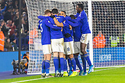GOAL Ayoze Perez (17) is congratulated by his team mates after scoring from the spot during the Premier League match between Leicester City and West Ham United at the King Power Stadium, Leicester, England on 22 January 2020.