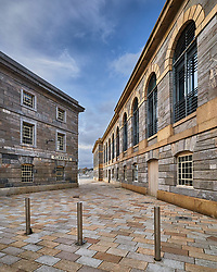 Three posts in the square at the Royal William Yard.<br />