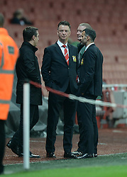 Manchester united's Manager louis van gaal and Manchester United's player coach Ryan Giggs  - Photo mandatory by-line: Alex James/JMP - Mobile: 07966 386802 - 22/11/2014 - Sport - Football - London - Emirates Stadium - Arsenal v Manchester United - Barclays Premier League