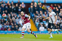 Alan Hutton of Aston Villa is challenged by Harry Kane of Tottenham Hotspur - Mandatory byline: Rogan Thomson/JMP - 13/03/2016 - FOOTBALL - Villa Park Stadium - Birmingham, England - Aston Villa v Tottenham Hotspur - Barclays Premier League.