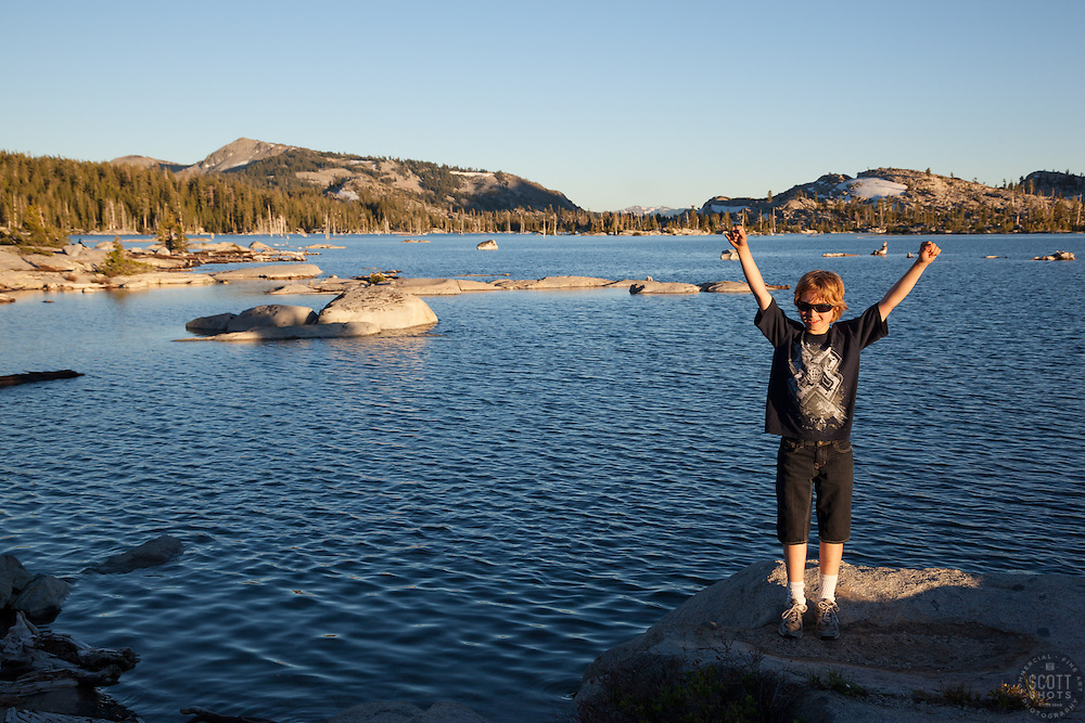 """""""Boy at Lake Aloha"""" - This boy was photographed at Lake Aloha in the Tahoe Desolation Wilderness."""