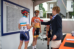 Megan Guarnier (USA) of Boels-Dolmans Cycling Team signs on before the start of the Philadelphia International Cycling Classic, a 117.8 km road race in Philadelphia on June 5, 2016 in Philadelphia, PA.
