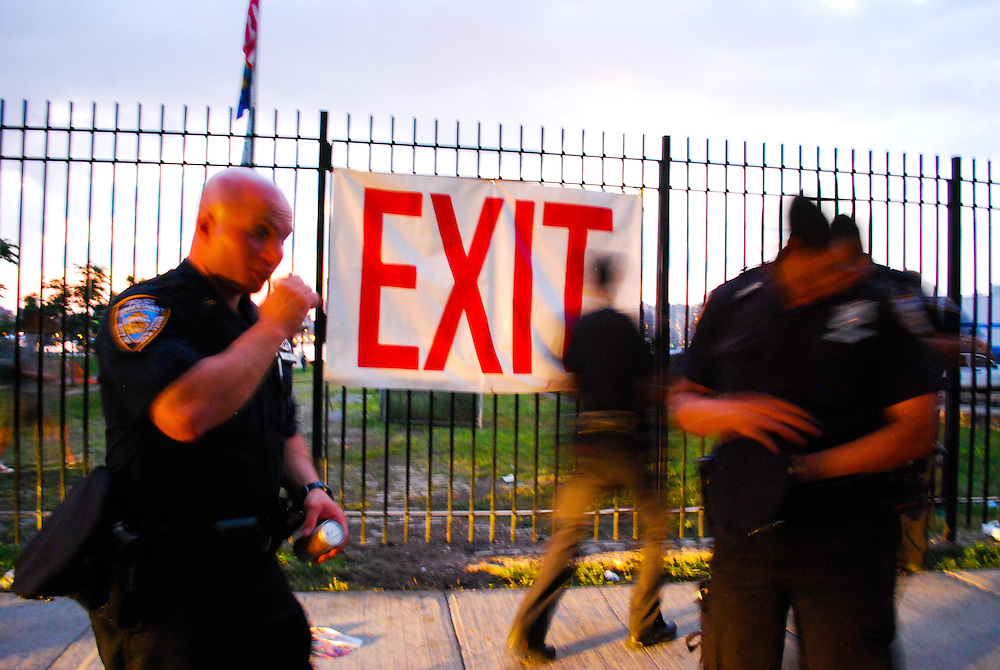 NYPD at the exit of the JELLY Pool Party free concert series at East River State Park, Williamsburg, Brooklyn, New York
