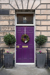 Christmas decorations of front doors of Georgian Houses in the New Town of Edinburgh , Scotland, United Kingdom