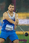 Great Britain, London - 2017 August 09: Mihail Anastasakis from Greece competes in men&rsquo;s hammer throw qualification during IAAF World Championships London 2017 Day 6 at London Stadium on August 09, 2017 in London, Great Britain.<br /> <br /> Mandatory credit:<br /> Photo by &copy; Adam Nurkiewicz<br /> <br /> Adam Nurkiewicz declares that he has no rights to the image of people at the photographs of his authorship.<br /> <br /> Picture also available in RAW (NEF) or TIFF format on special request.<br /> <br /> Any editorial, commercial or promotional use requires written permission from the author of image.
