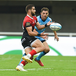 Lucas TAUZIN of Toulouse and Anthony BOUTHIER of Montpellier  during the Top 14 match between Montpellier and Toulouse on October 19, 2019 in Montpellier, France. (Photo by Alexandre Dimou/Icon Sport) - Anthony BOUTHIER - Lucas TAUZIN - Altrad Stadium - Montpellier (France)