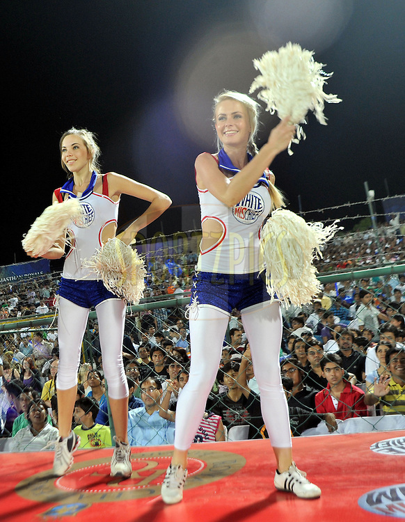 Cheer leaders of Rpyal Challengers Banglore during match 55 of the the Indian Premier League ( IPL ) Season 4 between the Rajasthan Royals and the Royal Challengers Bangalore held at the Sawai Mansingh Stadium, Jaipur, Rajatshan, India on the 11th May 2011..Photo by Sandeep ShettyBCCI/SPORTZPICS.
